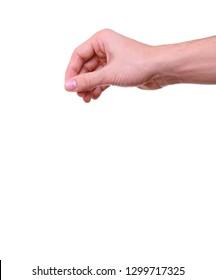 an empty hand holding between fingers