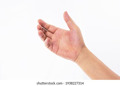 Empty Hand showing gesture holding the bottle, smartphone or something isolated on white background
