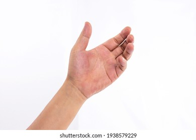 Empty Hand showing gesture holding the bottle, smartphone or something isolated on white background.