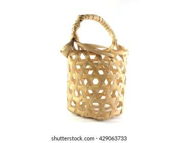 Empty handmade bamboo basket