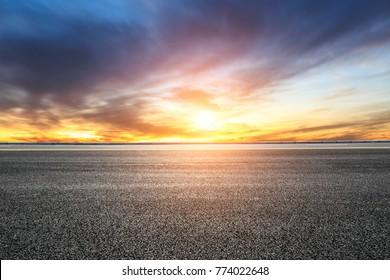 Empty highway asphalt road and beautiful sky sunset landscape