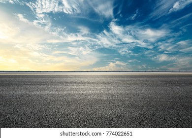 Photo of Empty highway asphalt road and beautiful sky sunset landscape