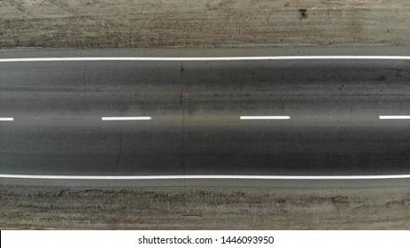 Empty highway asphalt road texture. Top view.