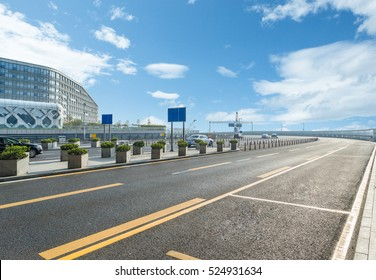 empty highway with cityscape and skyline of Hong Kong,China.