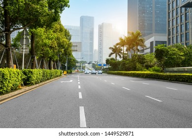 empty highway with cityscape and skyline of shenzhen,China