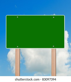 Empty highway sign in bright sky, clipping path.