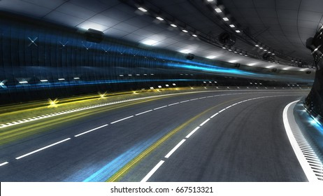 empty highway tunnel with spotlights and light fibers, transportation theme 3D illustration rendering