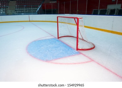 Empty hockey goal on ice rink. Side view
