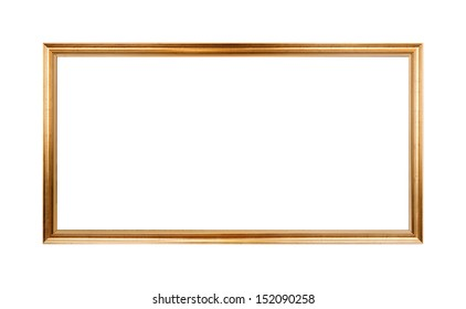 Empty horizontal wooden frame painted with gold paint isolated on white