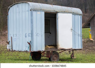empty horse transporter in the countryside