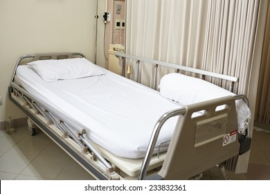 Empty hospital bed after the patient left from recovery
