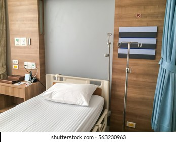 Empty hospital bed with medical equipment. Concept of medical, sickness, death