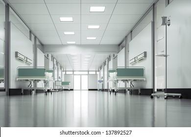 Empty hospital floor - High quality render