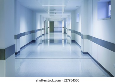 Empty hospital hall with white walls, medicine