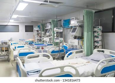 An empty hospital ward called HCU, ICU, General ward of Hospital.