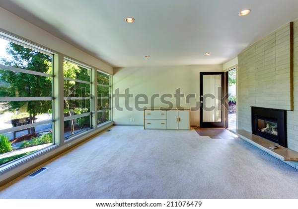 Empty House Interior Living Room Glass Stock Photo Edit Now