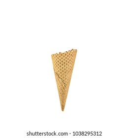 empty ice cream cone isolated on white background
