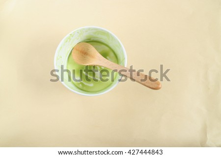 Empty Ice Cream Cup Wood Spoon Stock Photo Edit Now 427444843