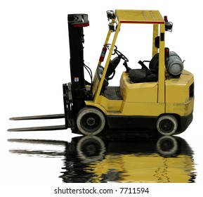empty industrial forklift with reflection in water