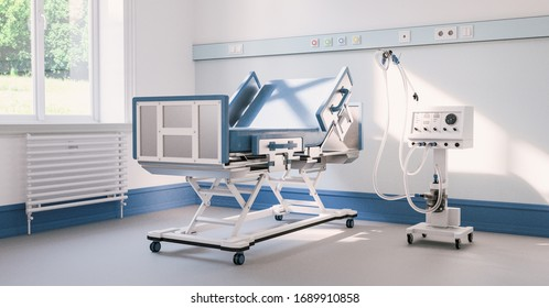 Empty intensive care bed with ventilator in the intensive care unit of a clinic during Covid-19 or coronavirus  Sars-CoV-2 epidemic