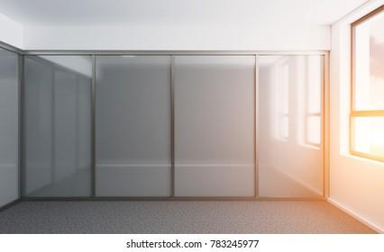Empty interior. 3D rendering. Sunset