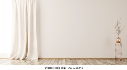 Empty interior background, room with beige wall, vase with branch and window 3d rendering