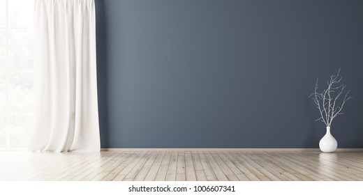Empty interior background, room with blue wall, vase with branch and window 3d rendering
