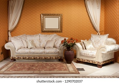 empty interior bedroom background in warm colors decorated with classic luxury furniture