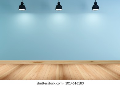 Empty interior with a Blue Wall and Wood Floor+Lamp. 3d rendering