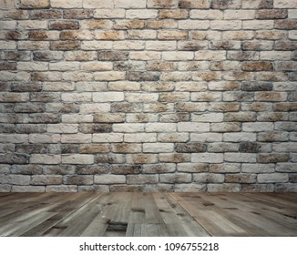 empty interior with brick wall