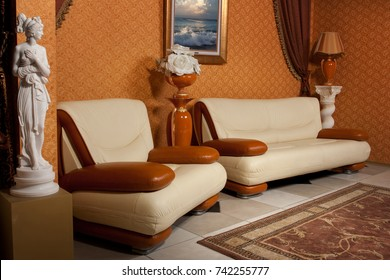 empty interior decorated with furniture