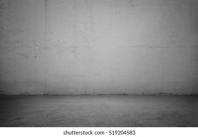 Empty interior for design, white concrete wall and black wooden floor. Empty room. Space for text and picture. Design ideas and style.