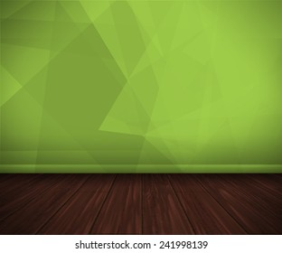 empty interior with a green triangular wall and wooden floor
