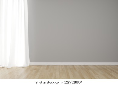 Empty interior grey wall with white curtain on wooden floor.