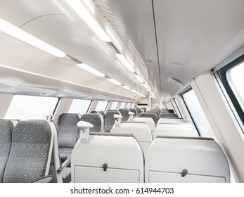 Empty interior of a modern railway carriage