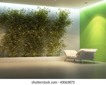 Empty interior with plant