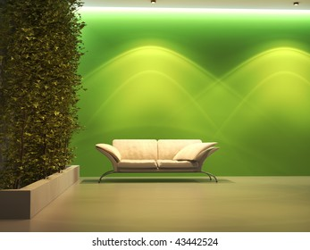 Empty interior with plant and green wall near sofa