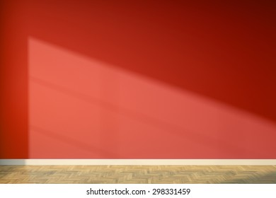 Empty interior with red walls 3D render