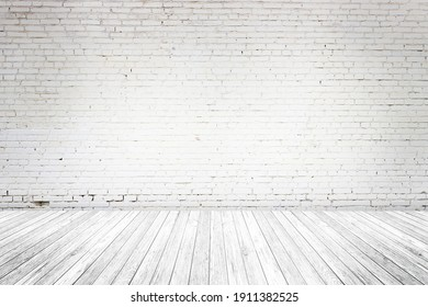 Empty Interior room with old white brick wall, wooden plank floor, used as studio background wall to display your products. Space for text and picture. Design ideas and style.