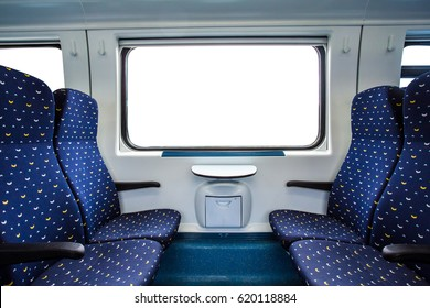 Empty interior of the train for long and short distance in Europe train carriage with blue seats.