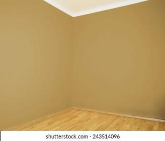 empty interior with wooden floor brown wall