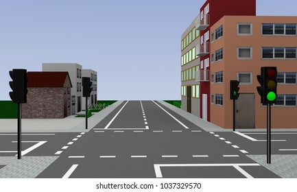 empty intersection with green glowing traffic lights and houses. 3d rendering