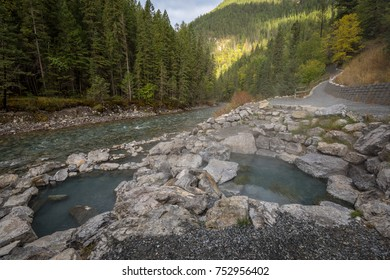 Empty and inviting natural hot springs next to Lussier River in Whiteswan Provincial Park, British Columbia, Canada