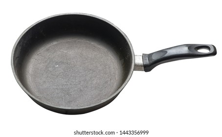 empty iron pan with isolated on white background. top side view of grill pan