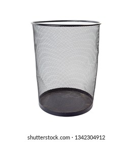 Empty iron wastebasket of black color isolated on white background.