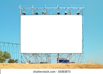 Empty Isolated billboard with the blue sky background