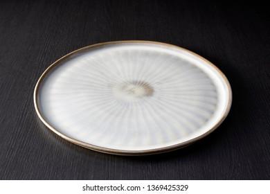Empty Japanese ceramic plates. Beautiful Japanese tableware