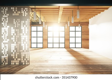 Empty japanese style room with windows in floor 3D Render