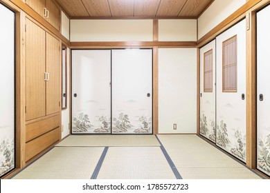 Empty Japanese-style bedroom in old Japanese house