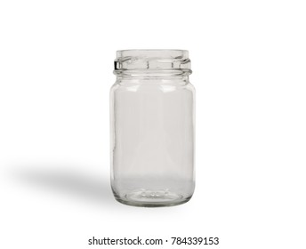 Empty jar isolated on white background.